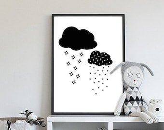 Clouds printable nursery art, Nursery decor,Black and white print,Kids poster,Downloadable print, Digital art, 2eggsProject,INSTANT DOWNLOAD