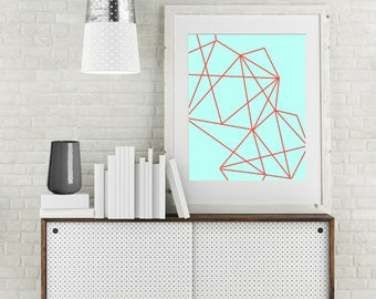 "Modern Wall Art, Line Art, Geo Print, Abstract Art, Geometric Art, Mint Art, Red Art, Colorful Art, Bright Art Print, ""Geo Red"""