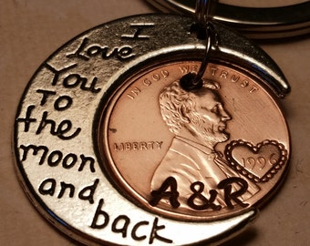 I love you to the moon and back custom keychain, Penny Keychain, Anniversary Gift, Boyfriend Gift, Husband Gift, Wife Gift, Lucky Penny