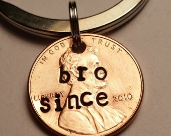 Bro Custom Lucky Penny Gift, Brother Gift, Lucky Penny Gift, Custom Penny, Best Bro, Brother Since, Brother Keychain, Gift for Brother