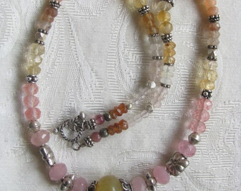 Peach Moonstone, Hessonite and Silver Necklace