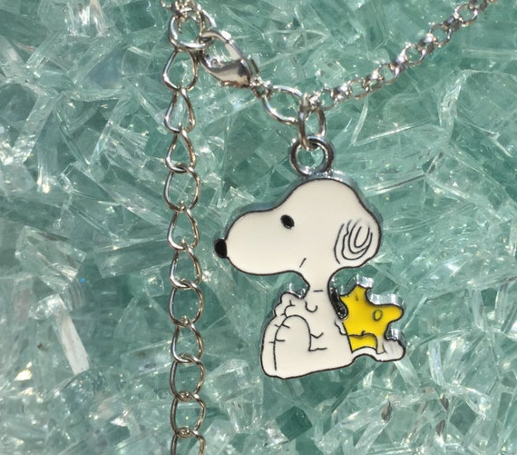 Snoopy and Woodstock Silver Necklace with silver enamel Snoopy Charm