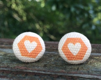 16mm Canvas/fabric nickel-free earrings - orange and white heart earrings