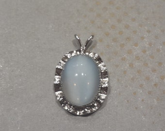 Sterling Silver .925 With Opalescent Stone Pendant