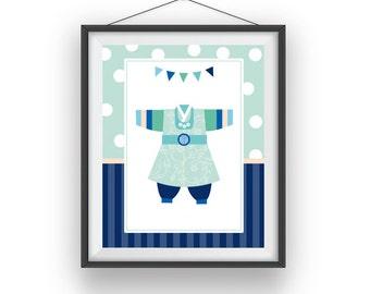 hanbok boy print, boy room art, korean hanbok playroom decor, digital print, boys nursery, children wall art, 8x10 print, printable art