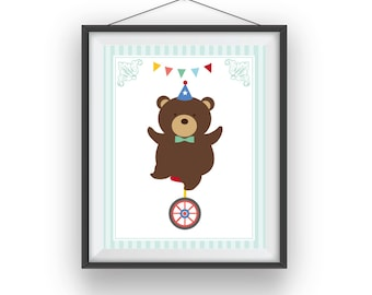 Circus Print, Circus Bear wall print, Carnival room art, playroom decor, nursery art, wall decor, children wall art, 8x10 print