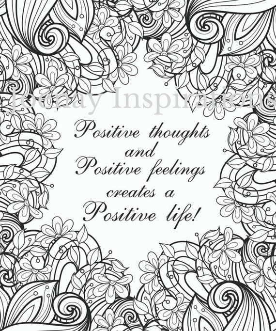 Adult Coloring Book Printable Coloring Pages, Coloring Pages, Coloring Book for Adults Instant Download Inspiration and Affirmation 3 page 4