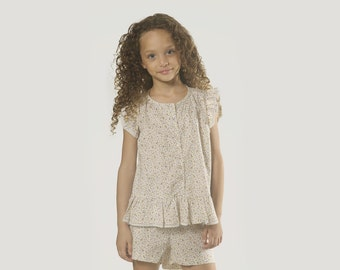 """Girls Smocked Top Blouse in Sizes 2 to 9 Years -- The """"Cottage Garden"""" Peplum Top in Forget Me Not"""