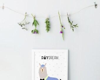 Llama print - Cute Alpaca print - Colorful artwork - Childrens room decor - Scandinavian modern - Children artwork - Kids prints