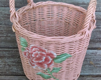 Vintage Round Basket with two handles Pink Basket Wicker woven Basket Easter Decoration