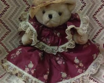 Vintage Teddy Bear wearing a flowered Red  dress with lace, ribbons and a straw hat with flowers and ribbons Easter Decor Easter Basket Gift