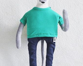 Husky dog in green t-shirt