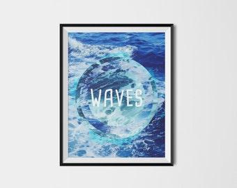 Beach Decor, Ocean Print, Coastal, Ocean Art, Turquoise Blue Aqua Abstract, Water Print, Ocean Water Print, Coastal Wall Art, Printable Art