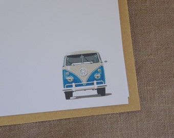 6 peace van mini cards with envelopes. Hippy notecards. Groovy cards.