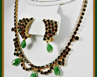 Vintage Rhinestone Jewelry Set,Vintage Rhinestone Demi-Parure,Vintage Rhinestone Choker,Vintage Rhinestone Earrings,Vintage Demi-Parure