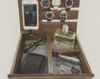 Double Governor | Wooden Valet | Dresser Caddy | Reclaimed Wood Organizer | Watch Valet