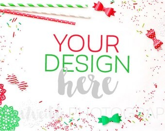 Christmas Sprinkles Styled Desktop / Styled Stock Photography, Christmas Styled Mockup, Product Background Photo / Stationery Desktop