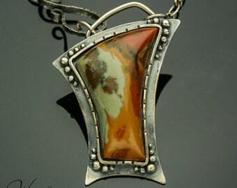 Silver Necklace, Rocky Butte Necklace, Jasper, Silver Pendant, Handmade, Artisan Jewelry, Freeform, Asymmetrical, Statement Piece