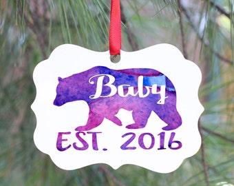 Baby Bear, Pregnancy Announcement Ornament, Pregnancy Announcement, New Baby Ornament, New Parent Gift, Personalized Pregnancy Announcement