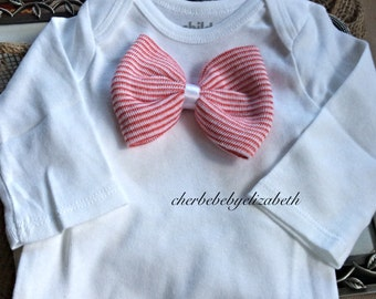 Baby boys bowtie coming home outfit, red and white bow tie, long sleeve or short sleeve white onesie, 0-3 mo