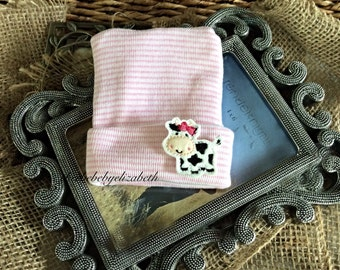 Hospital Newborn cow Beanie, infant, Newborn, animal hat, girl pink striped cow beanie, first keepsake, Hospital Hat