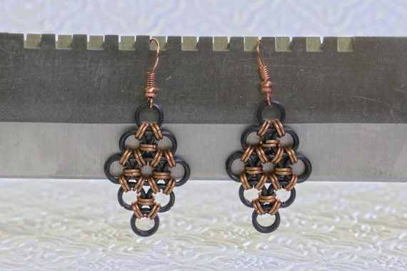 Copper and Black Stainless Steel- Japanese 12 in 2 - Chainmaille Earrings - Gothic Earrings - Maille Earrings - Viking Armor Earrings