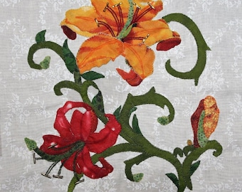 Lily Appliqué Block for the Buoyant Blossoms BOM Collection