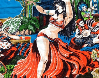 Vintage Belly Dancer Faux Tapestry, Belly Dance, Belly Dancer, Wall Art, Gift, Dance