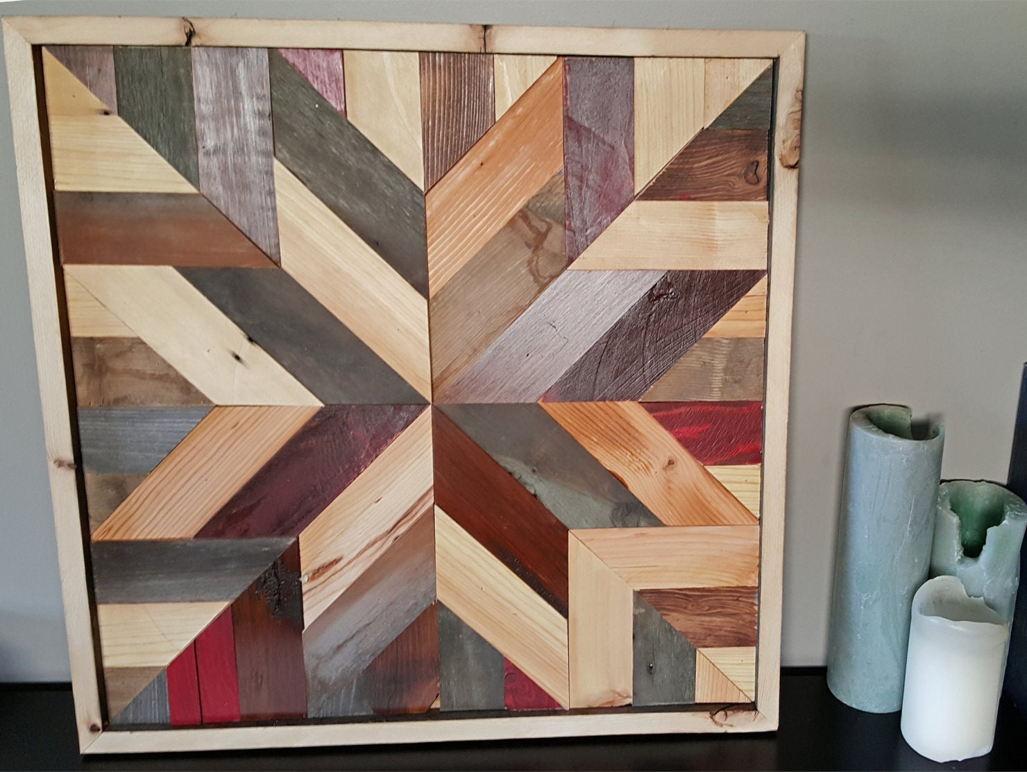 Star Pattern Barn Quilt Multiple Shades Of Stained Wood