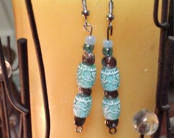 Tribal light teal dangle earrings