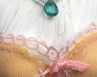 Gemstone Barbie Necklace - Aquamarine And Apatite Whimsical Gemstone Doll Jewelry