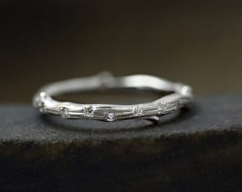 Diamond Twig Wedding Band Ring - 9 ct / 14 ct / 18 ct White Gold - Hand Made to Order
