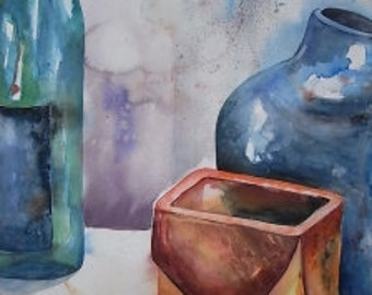 Watercolor watercolor painting still life original kitchen picture