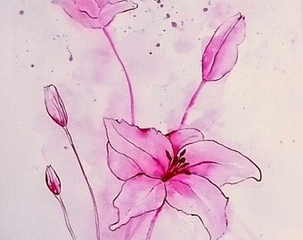 Watercolor watercolor painting watercolor Lillien expressive original floral flower flowers ink drawing