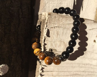 Tiger Eye and Black Onyx Bracelet