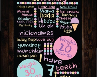 Bubble Gum Pop First Birthday Chalkboard Sign!- Digital File, first birthday, baby's first sign