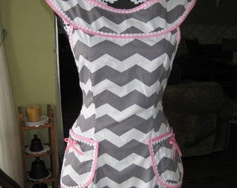 Gray Chevron Full Apron
