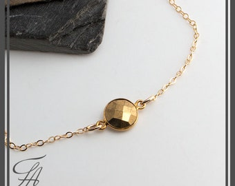 Tiny Pyrite Necklace, Gold Necklace, Handmade Necklace, Pyrite Stone, Minimalist Jewelry, Stone Charm, Pyrite Pendant, Dainty Jewelry