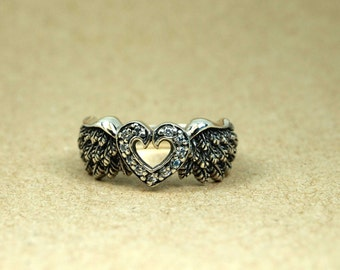 Angel Wing Heart Ring 925 Sterling Silver, Heart Angel Wings Ring Women's fashion ring, Owl Ring, feather ring, Unique Ring wing jewelry
