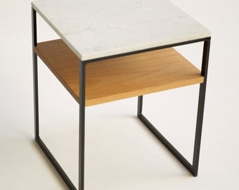 Trio Bedside Table - Marble/Steel/Blackbutt