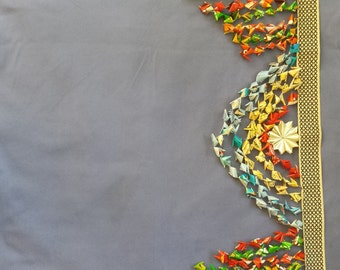 """Center Swing A - 36""""; This  origami  valence is a unique craft, whimsical and festive, Colorful up-cycled materials. Fairly traded."""
