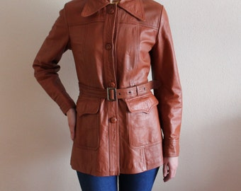 Camel Brown Leather Jacket Fitted Leather Jacket Women's Leather Jacket Vintage Leather Jacket Genuine Leather Jacket Button up Belted