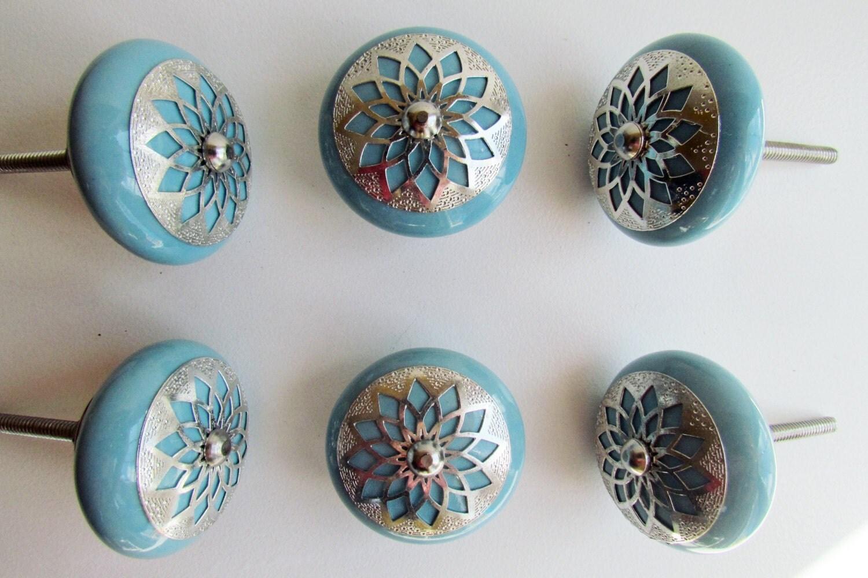 Set of 6 decorative ceramic knobs silver star bedroom - Bedroom furniture handles and pulls ...