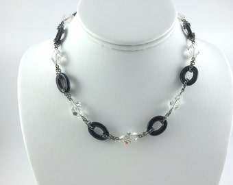 Deco Jet and Crystal necklace, Sterling Silver Chain, 16""