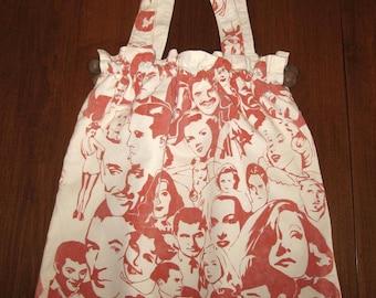 Women's Large Hand-Made Nostalgic Movie Star Print Carry-All Bag