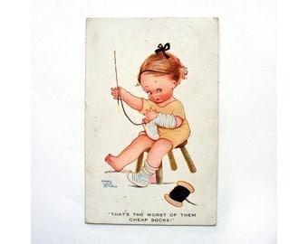 Mabel Lucie Attwell Vintage Postcard, 1920s, Comic Postcard, Little Girl Sewing, King George V One Penny Postage Stamp