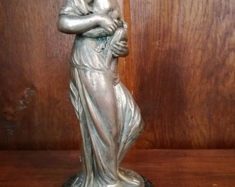 Antique French Statue BOUCHARDON Bronze Silverplate Figurine SIGNED 18th century