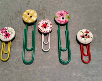 Button paperclips, button bookmarks, floral paperclips, decorative bookmarks