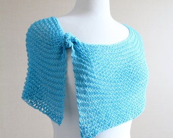 SALE | Turquoise Summer Poncho | Open Weave Cover Up | Crochet Cover Up | Lacy Beach Wrap | Open Stitch Cotton Scarf | Blue Beach Wrap