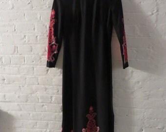 Vintage 70s Black Maxi Length Dress with Pink Details